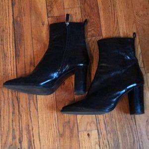 Black Zara block heel boots